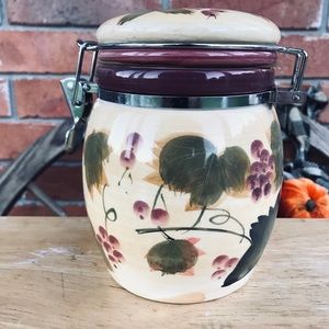 Vtg Ceramic Canister Jar w Wire Closing Lid Floral